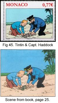 Tintin and Capt Haddock digging on beach, Monaco, 2012