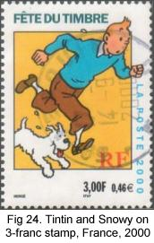 Tintin and Snowy on 3-franc stamp, France, 2000