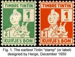 The earliest Tintin stamp (or label) designed by Herge, 1950.