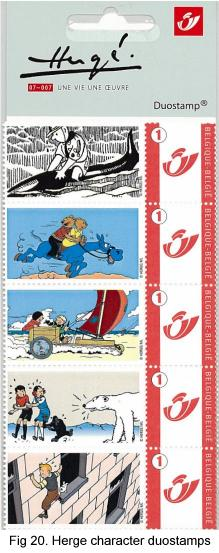 2007 Belgian duostamps show Herge characters from 5 comic strips