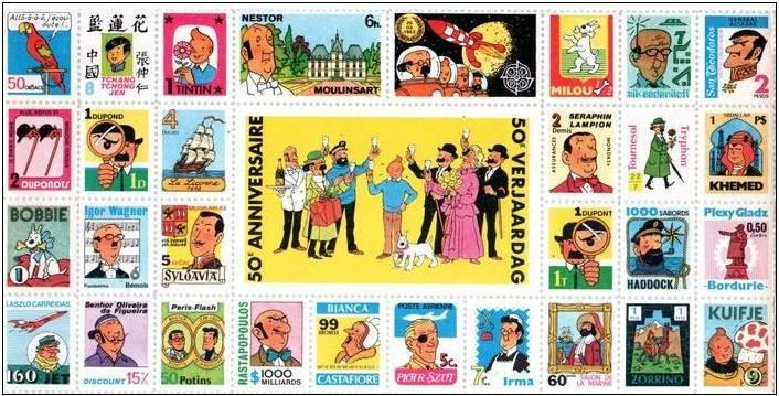 Example Tintin sheetlet of 30 stamp-like labels, 1979