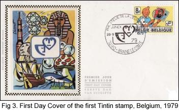 First Day Cover of the first Tintin stamp, Belgium, 1979