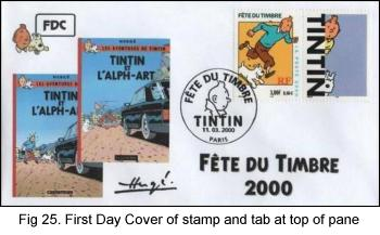 FDC of Tintin and Snowy on 3-franc stamp with tab, France, 2000