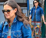 Brightening things up: Mania Days actress Katie Holmes and a friend spotted leaving Pastis after lunch in New York on Thursday