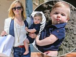 Look who's left holding the baby! Reese Witherspoon has a rare mummy's outing with nine-month old son,Tennessee