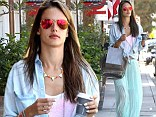 Feeling good! Alessandra Ambrosio dressed to show her bright spirits with a vibrant ensemble as she walked around Brentwood, California on Thursday