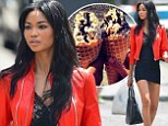 Chanel Iman rocks red leather jacket at photo shoot then treats herself to ice-cream cone