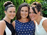 Louise Hughes (left), Amanda Ford (centre) and Marianne Corr (right) have all had double mastectomies. Twins Ms Hughes and Ms Ford, 43, both carry the BRCA gene and both developed breast cancer