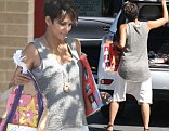 Growing belly: Halle Berry bared her baby bump as she exited her daughter's school in Studio City, California on Thursday