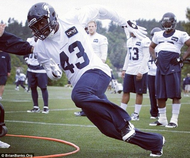 Redemption: Banks is pictured during his tryouts with the Seattle Seahawks last year