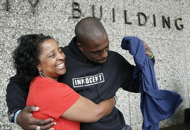 Win: Brian Banks, pictured with his mother after he was exonerated in May, has signed with the Atlanta Falcons
