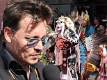 Johnny Depp surprises the Comanche Nation Indian Tribe at an advanced screening of The Lone Ranger