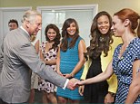 Pleased to meet you: The Saturdays looked delighted on Friday as they met Prince Charles during a visit to a Marie Curie Cancer Care Hospice in Solihull
