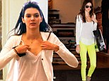 Lighting up the sidewalk! Kendall Jenner is an eye-catching sight in a pair of neon yellow jeans