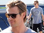 Chris Hemsworth arrived at the set of his computer hacking movie Cyber on Friday looking ready for action.