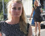 Fresh! Diane Kruger steps out of Andy LeCompte Salon in Los Angeles, California with updated blonde highlights, left, after keeping her hair up lately, right