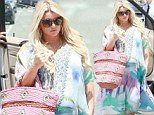Weeks away! Pregnant Jessica Simpson dons yet another maxi-dress for lunch with her fiancé Eric Johnson
