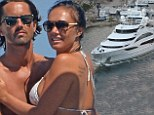 Kiss me quick: Newlyweds Tamara Ecclestone and Jay share a moment as they set sail from Corsica with sister Petra