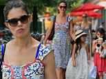 Looking summery! Katie Holmes wears flower-print dress as she takes Suri and a friend to Cowgirl in NYC for lunch
