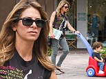 How many calories did that burn? Jillian Michaels pushes her son in stroller car around Malibu while running errands