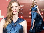 The thigh's the limit! Jessica Chastain turns heads as she shows her racy side in split gown at Shanghai Film Festival