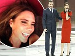'See, I told you she smiles': David Beckham posts rare cheerful snap of Victoria as she shows off her pencil-thin figure in chic scarlet dress