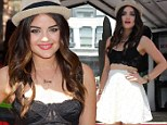 That's one way to get attention! Lucy Hale steps out in just a lacy bra as she promotes fashion brand