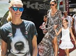 Are you digging it? Heidi Klum dons a dog-faced T-shirt before slipping into snake skin dress for outing with the kids and beau
