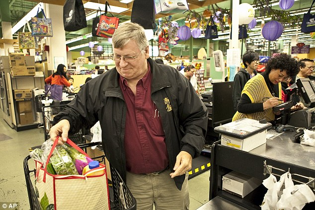 Basket case: Duke said he has seen a jump in the number of hand baskets lifted from the supermarket to the tune of thousands of dollars