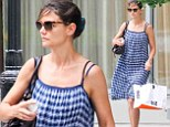 Check mate! Katie Holmes looks ready for summer as she steps out in a loose fitting blue summer dress and sandals
