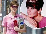 Modern day Audrey? Anne Hathaway, left, resembled classic icon Audrey Hepburn, right, as she filmed scenes for Song One in Brooklyn, New York on Wednesday