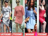 Social whirl: Pippa at the wedding in Alnwick (l-r), shopping near her home, at Wimbledon on Monday and at Sir David Frost's annual party