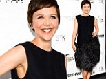 Black bird: Maggie Gyllenhaal attended the Gotham Magazine summer party on Wednesday in a fun, feathery black dress