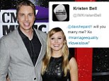 'Dax, will you marry me?': Kristen Bell proposes on Twitter in celebration of Supreme Court ruling on gay marriage