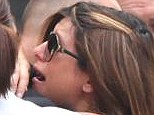 Heartbroken: Jamie-Lynn Sigler sobbed after the funeral of actor James Gandolfini at the Cathedral Church of St. John the Divine in New York on Thursday