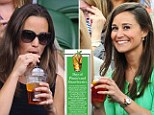 Inseparable: Pippa Middleton enjoys a cup of Pimms while watching tennis