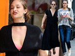 Jessa is up to her old tricks! Jemima Kirke flashes bra and puffs on cigarette as Allison Williams digs into ice cream on set of Girls