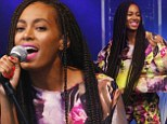 Solange Knowles shines in a sheer-back geometric suit as she makes her debut on the Glastonbury stage