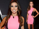 Looking good! Audrina Patridge showed off her sculpted physique in a pink-and-black dress as she judged the Hooters International Swimsuit Pageant in Las Vegas, Nevada on Friday