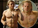 Clean shaven, no tattoos and BULGING biceps: Charlie Hunnam is a far cry from his Sons of Anarchy character as he goes shirtless for new film Pacific Rim