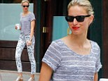 She'd look good in anything! Karolina Kurkova steps out in a floral vs. stripes ensemble and still looks jaw-dropping