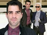 Joining the fashion pack? Zachary Quinto attends Dior Homme and poses with Karl Lagerfeld at Paris Fashion Weekd