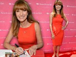 Jane Seymour sizzles in red peplum frock at the Grove premiere for An American Girl: Saige Paints The Sky