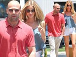 Step it up, Statham! Stunning Rosie Huntington-Whiteley overshadows her scruffy-looking boyfriend Jason on a romantic day out