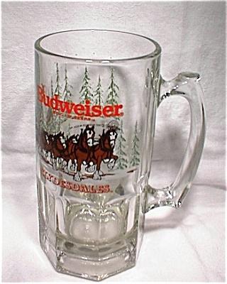 1992 Anheuser-Busch Budweiser Qt Glass Holiday Mug (Image1)