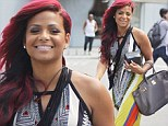 Where's the carnival? Christina Milian gets into the spirit in garish patterned dress to go shopping in Beverly Hills