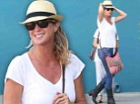 Tough workout? Rachel Hunter leaves pilates class in skin tight jeans motorbike boots
