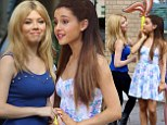 Nickelodeon costars Ariana Grande and Jennette McCurdy lark around on set of TV commercial
