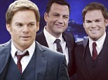 Dexter star Michael C. Hall looks razor sharp in three-piece suit for Jimmy Kimmel Live