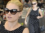 Going dotty! Bare-faced Anna Paquin is elegant in a spotty dress as she stocks up on groceries at natural foods store